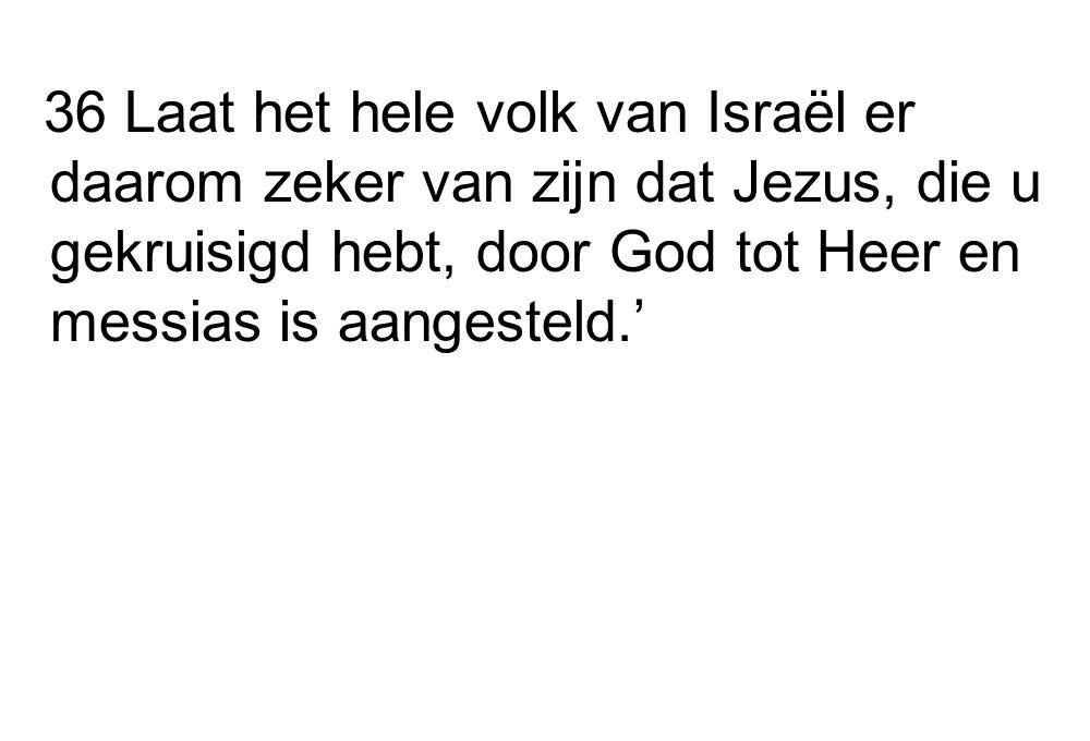 36 Laat het hele volk van Israël er daarom zeker van zijn dat Jezus, die u gekruisigd hebt, door God tot Heer en messias is aangesteld.'