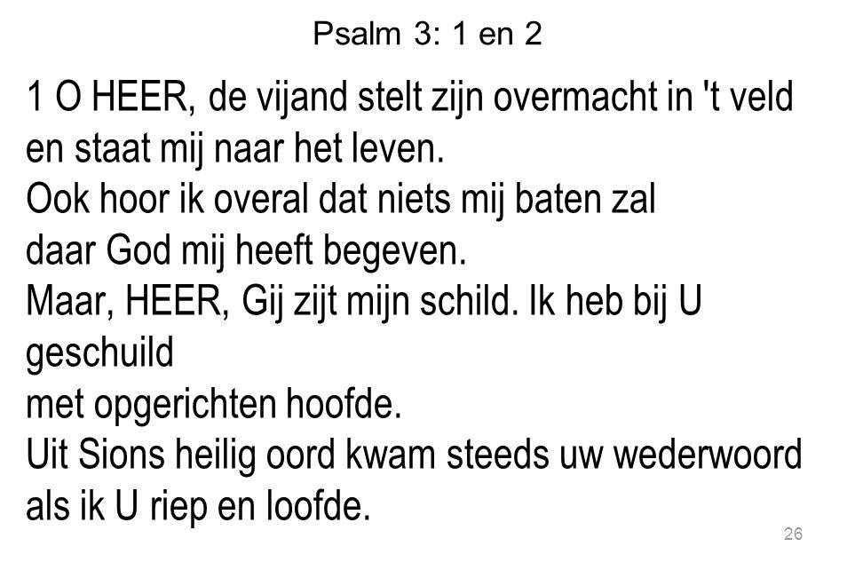 Psalm 3: 1 en 2 1 O HEER, de vijand stelt zijn overmacht in t veld en staat mij naar het leven.