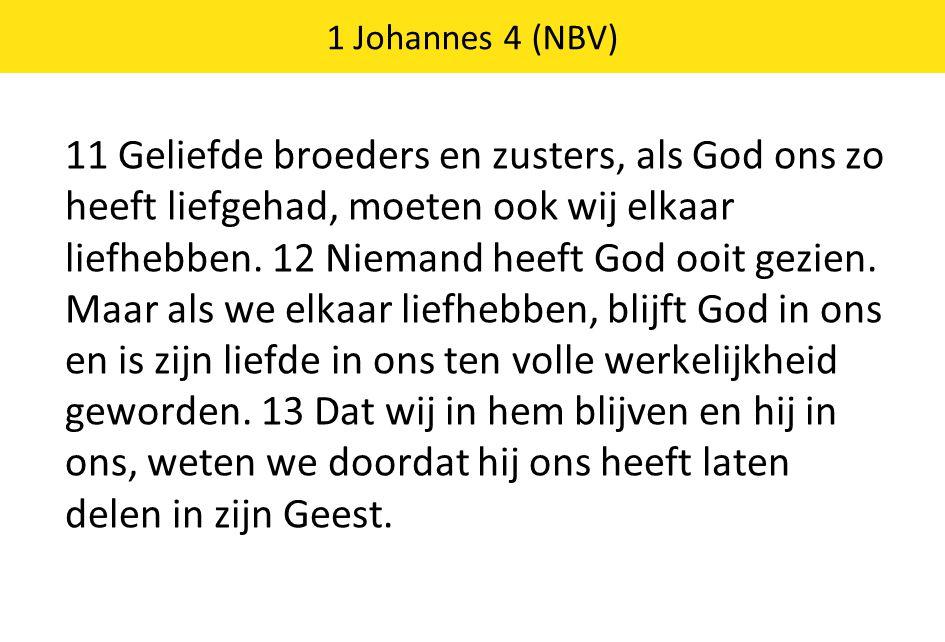 11 Geliefde broeders en zusters, als God ons zo heeft liefgehad, moeten ook wij elkaar liefhebben. 12 Niemand heeft God ooit gezien. Maar als we elkaa