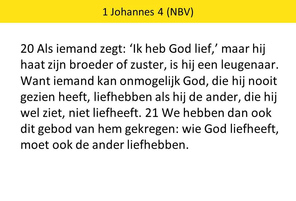 20 Als iemand zegt: 'Ik heb God lief,' maar hij haat zijn broeder of zuster, is hij een leugenaar. Want iemand kan onmogelijk God, die hij nooit gezie