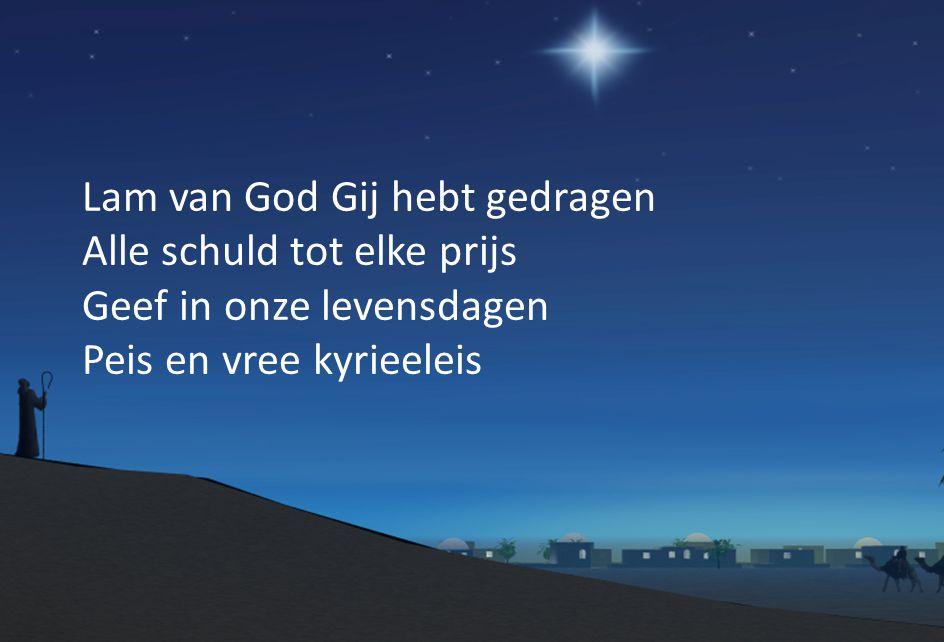 Lam van God Gij hebt gedragen Alle schuld tot elke prijs Geef in onze levensdagen Peis en vree kyrieeleis