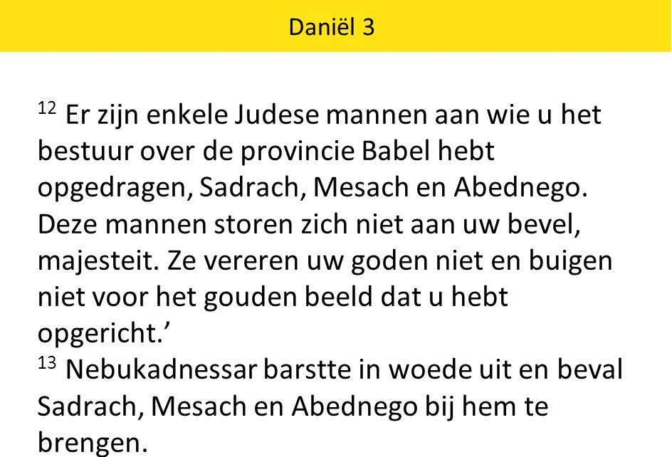Daniël 3 Toen de mannen voor de koning waren geleid, 14 voer Nebukadnessar uit: 'Is het waar, Sadrach, Mesach en Abednego, dat jullie mijn goden niet vereren en niet willen neerknielen voor het gouden beeld dat ik heb opgericht.
