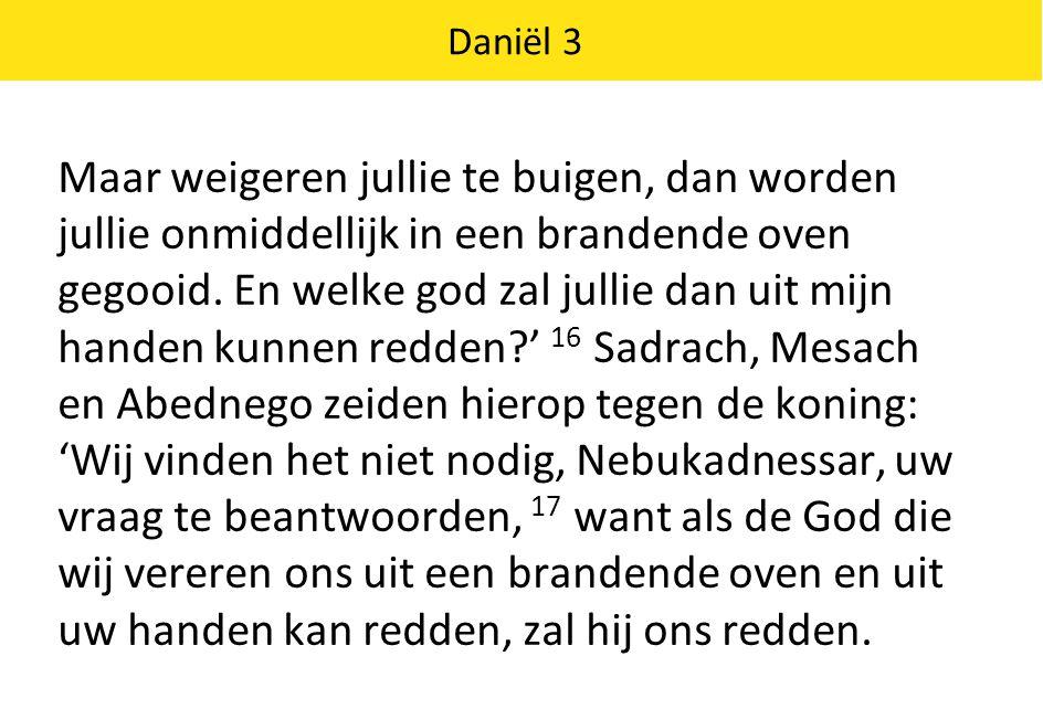 Daniël 3 18 Maar ook al redt hij ons niet, majesteit, weet dan dat wij uw goden niet zullen vereren, noch zullen buigen voor het gouden beeld dat u hebt opgericht.' 19 Nebukadnessar werd razend, en met een van woede vertrokken gezicht keek hij Sadrach, Mesach en Abednego aan.