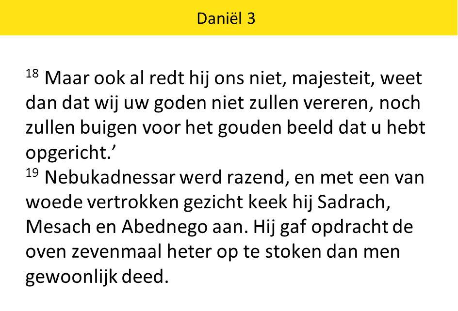 Daniël 3 20 En hij beval enkele van de sterkste mannen uit zijn leger om Sadrach, Mesach en Abednego te knevelen en in de brandende oven te gooien.