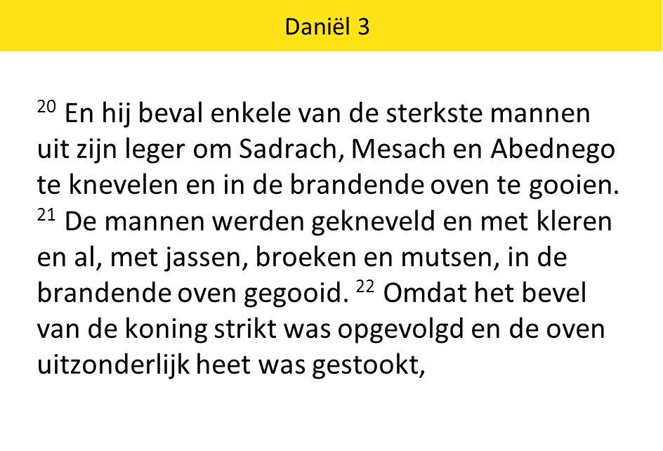 Daniël 3 werden de mannen die Sadrach, Mesach en Abednego naar boven brachten door de uitslaande vlammen gedood.