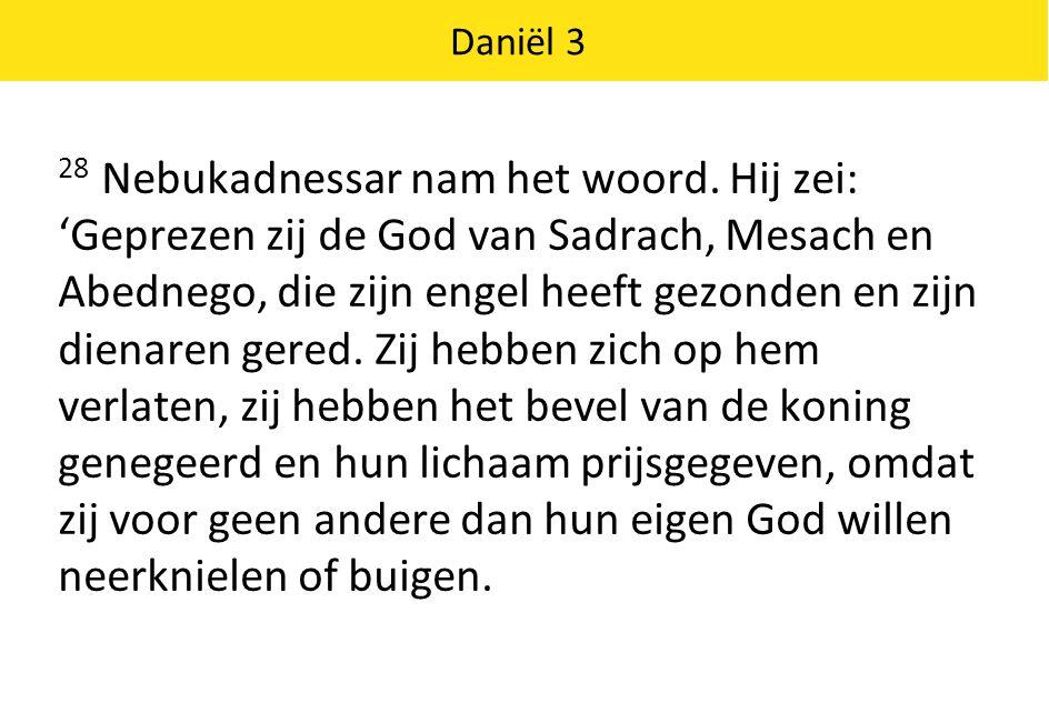 Daniël 3 29 Daarom vaardig ik het bevel uit dat eenieder, van welk volk, welke natie of taal ook, die zich oneerbiedig uitlaat over de God van Sadrach, Mesach en Abednego, in stukken wordt gehakt en dat zijn huis in puin wordt gelegd, want er is geen god die kan redden als deze.' 30 Vervolgens gaf de koning Sadrach, Mesach en Abednego een hogere positie in de provincie Babel.