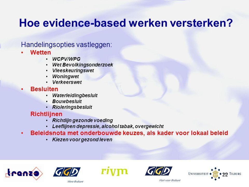 22 Hoe evidence-based werken versterken? Handelingsopties vastleggen: Wetten WCPV/WPG Wet Bevolkingsonderzoek Vleeskeuringswet Woningwet Verkeerswet B