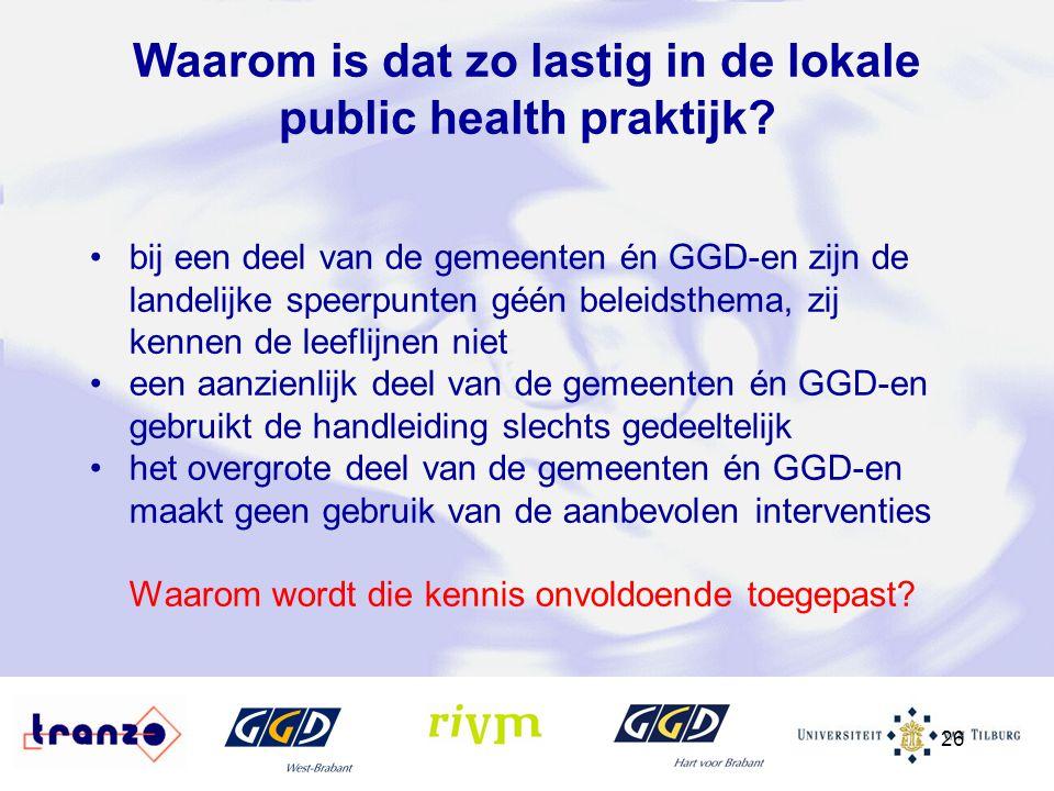 26 Waarom is dat zo lastig in de lokale public health praktijk? bij een deel van de gemeenten én GGD-en zijn de landelijke speerpunten géén beleidsthe