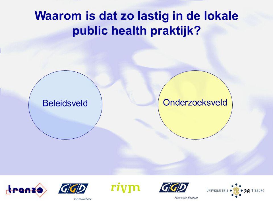 28 Beleidsveld Onderzoeksveld Waarom is dat zo lastig in de lokale public health praktijk?