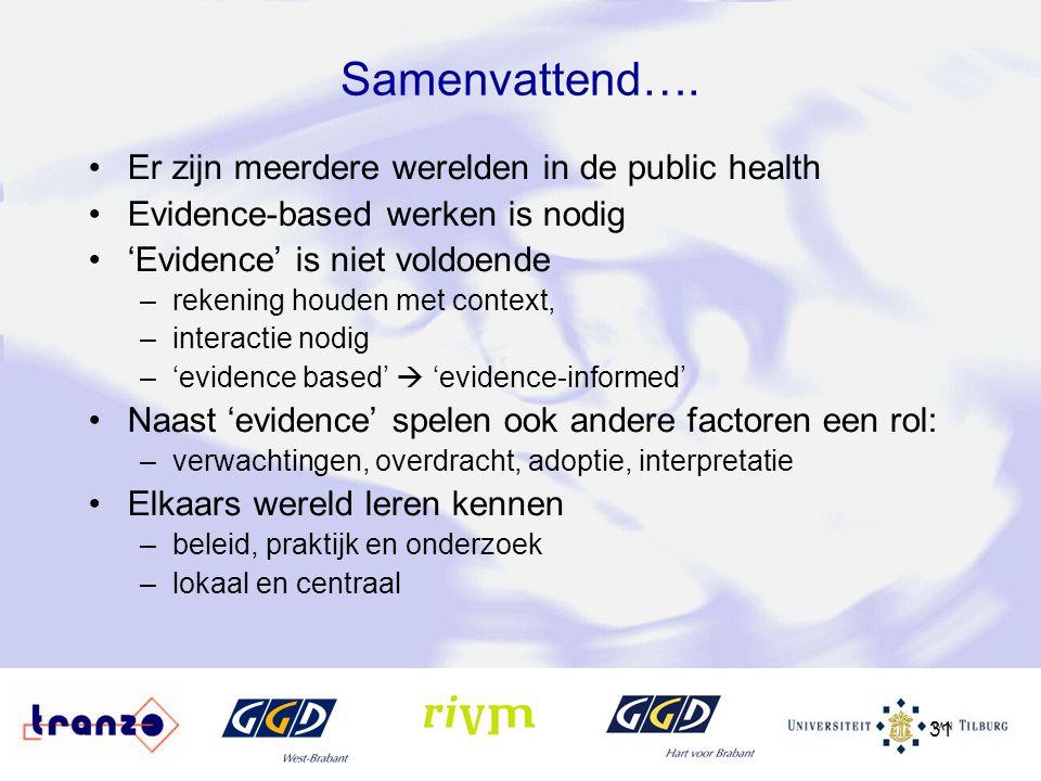 31 Samenvattend…. Er zijn meerdere werelden in de public health Evidence-based werken is nodig 'Evidence' is niet voldoende –rekening houden met conte