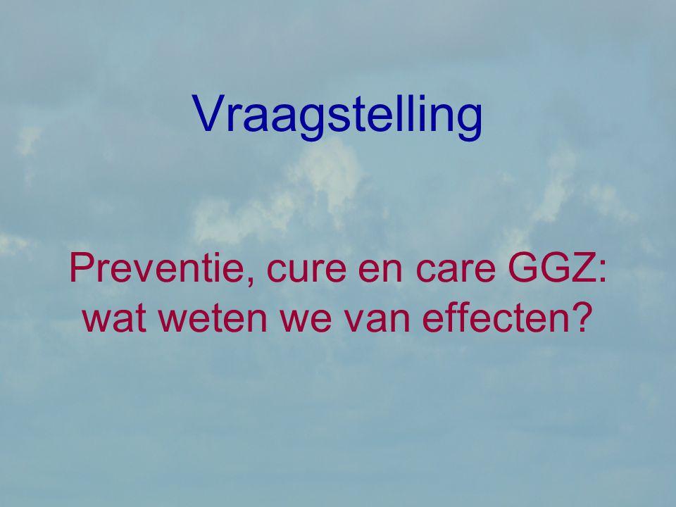 Vraagstelling Preventie, cure en care GGZ: wat weten we van effecten?
