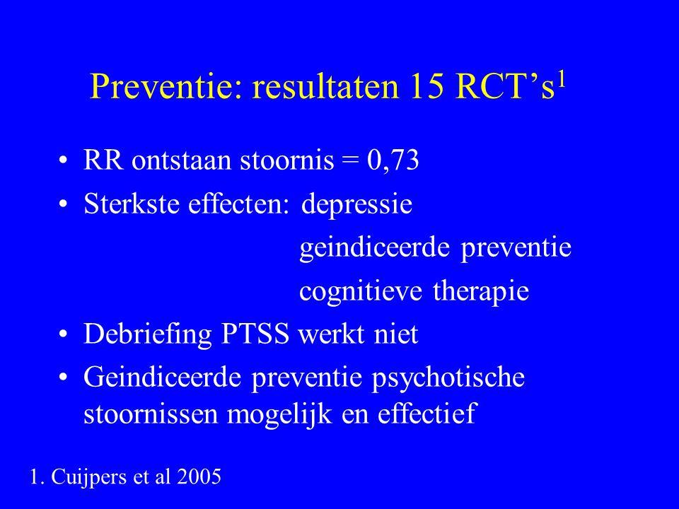 Preventie: resultaten 15 RCT's 1 RR ontstaan stoornis = 0,73 Sterkste effecten: depressie geindiceerde preventie cognitieve therapie Debriefing PTSS werkt niet Geindiceerde preventie psychotische stoornissen mogelijk en effectief 1.