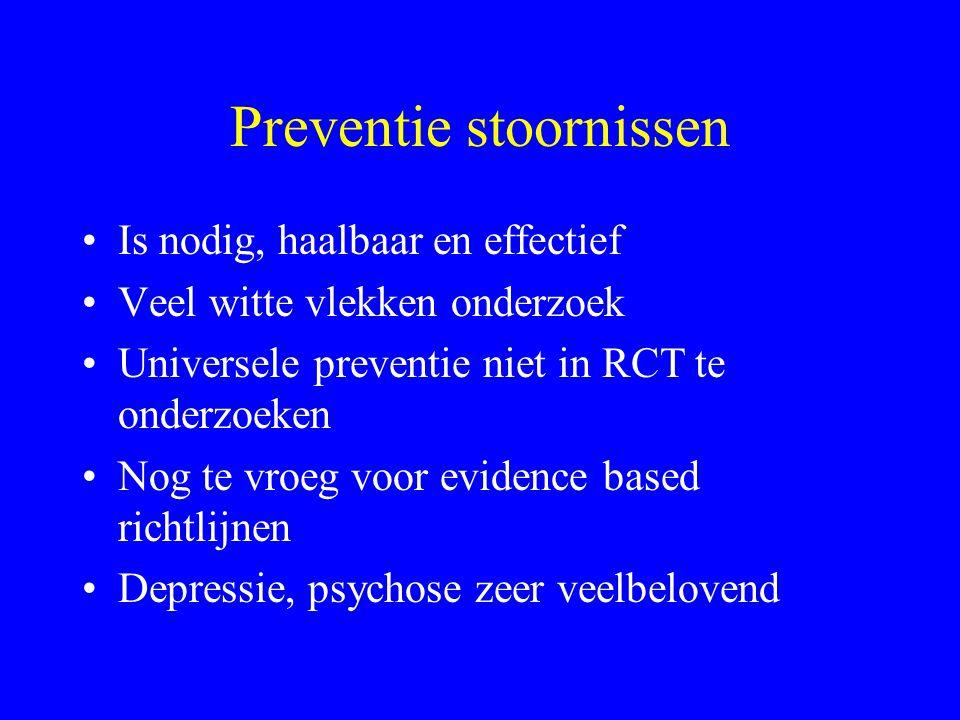 Preventie stoornissen Is nodig, haalbaar en effectief Veel witte vlekken onderzoek Universele preventie niet in RCT te onderzoeken Nog te vroeg voor evidence based richtlijnen Depressie, psychose zeer veelbelovend