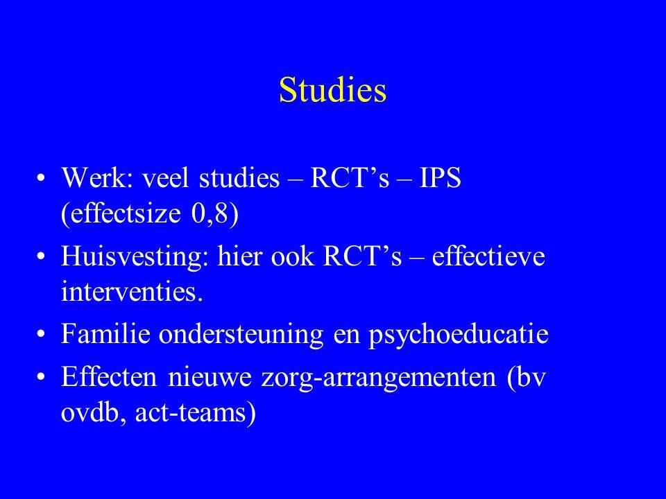 Studies Werk: veel studies – RCT's – IPS (effectsize 0,8) Huisvesting: hier ook RCT's – effectieve interventies. Familie ondersteuning en psychoeducat