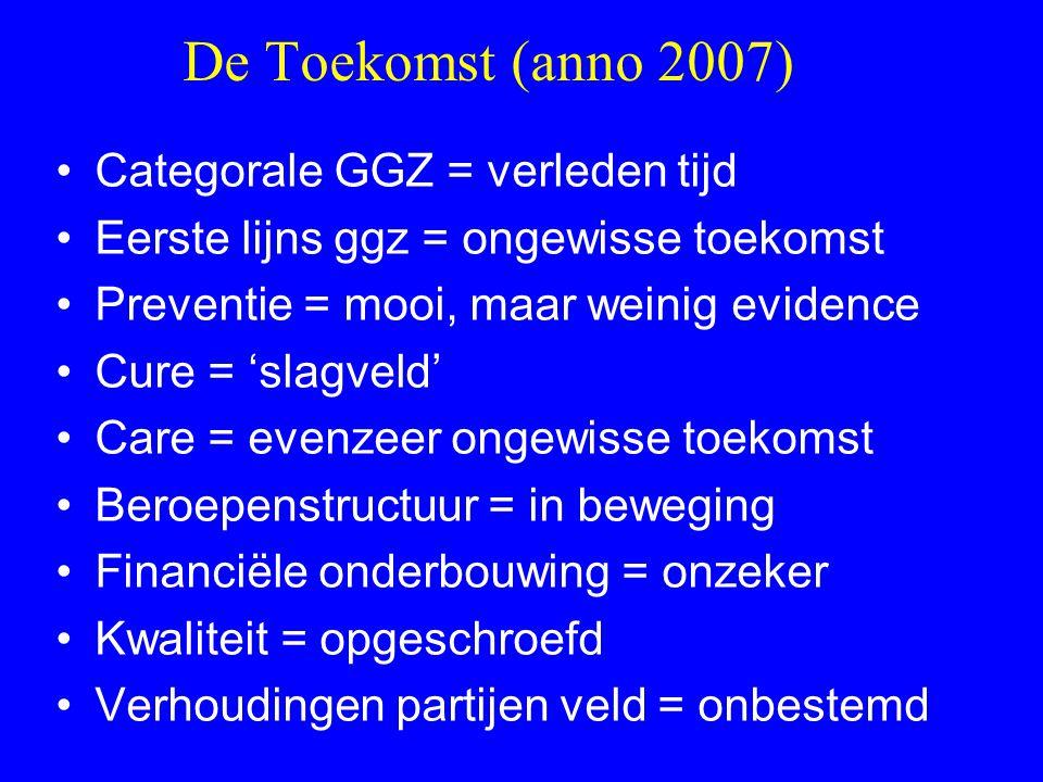 De Toekomst (anno 2007) Categorale GGZ = verleden tijd Eerste lijns ggz = ongewisse toekomst Preventie = mooi, maar weinig evidence Cure = 'slagveld'