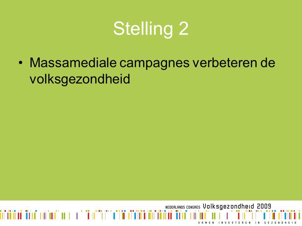 Stelling 2 Massamediale campagnes verbeteren de volksgezondheid