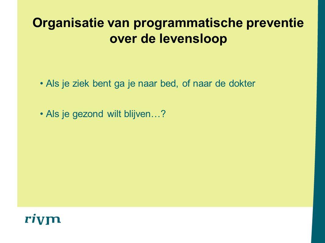 Organisatie van programmatische preventie over de levensloop Als je ziek bent ga je naar bed, of naar de dokter Als je gezond wilt blijven…?