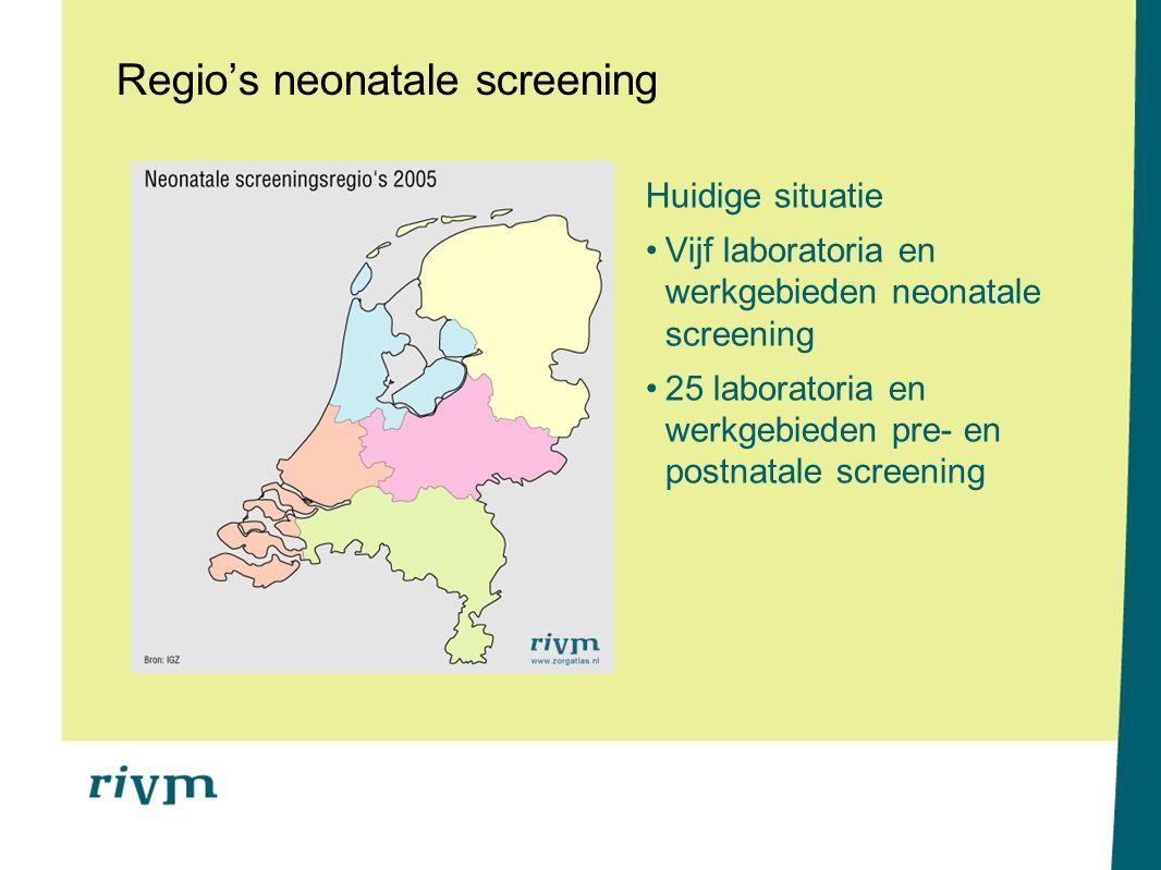 Regio's neonatale screening Huidige situatie Vijf laboratoria en werkgebieden neonatale screening 25 laboratoria en werkgebieden pre- en postnatale sc