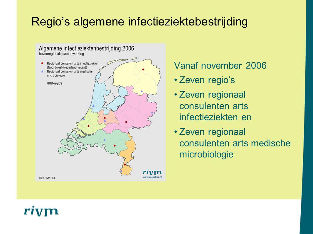 Regio's algemene infectieziektebestrijding Vanaf november 2006 Zeven regio's Zeven regionaal consulenten arts infectieziekten en Zeven regionaal consu