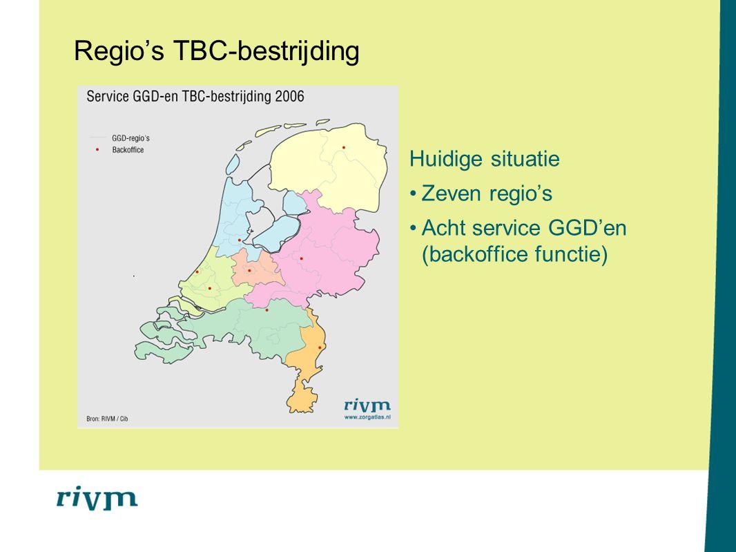 Regio's TBC-bestrijding Huidige situatie Zeven regio's Acht service GGD'en (backoffice functie)
