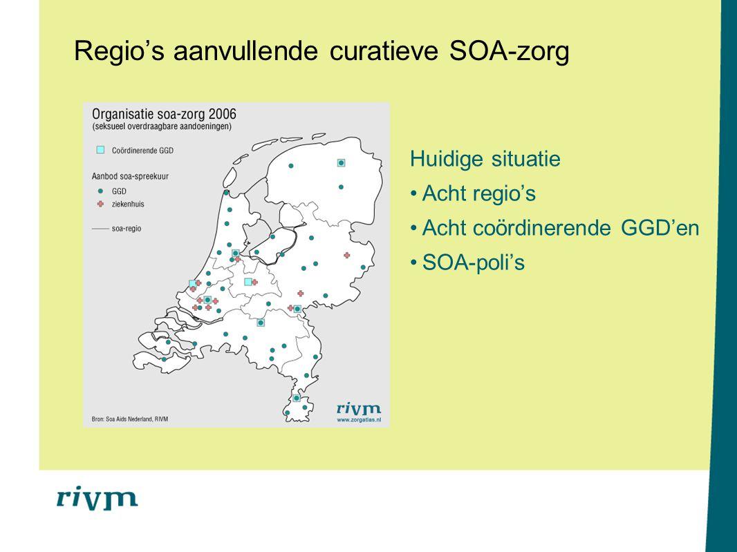 Regio's aanvullende curatieve SOA-zorg Huidige situatie Acht regio's Acht coördinerende GGD'en SOA-poli's