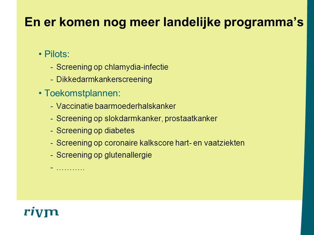 En er komen nog meer landelijke programma's Pilots: -Screening op chlamydia-infectie -Dikkedarmkankerscreening Toekomstplannen: -Vaccinatie baarmoeder