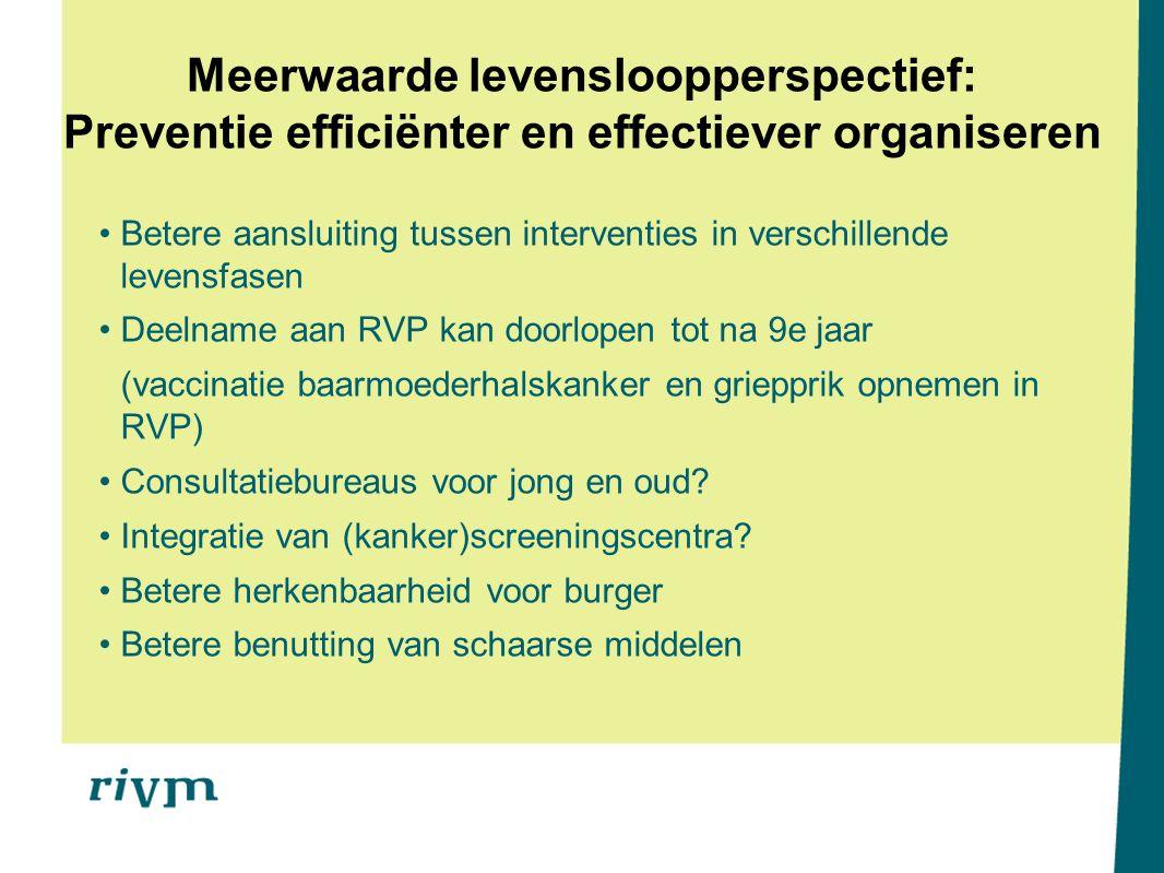 Betere aansluiting tussen interventies in verschillende levensfasen Deelname aan RVP kan doorlopen tot na 9e jaar (vaccinatie baarmoederhalskanker en