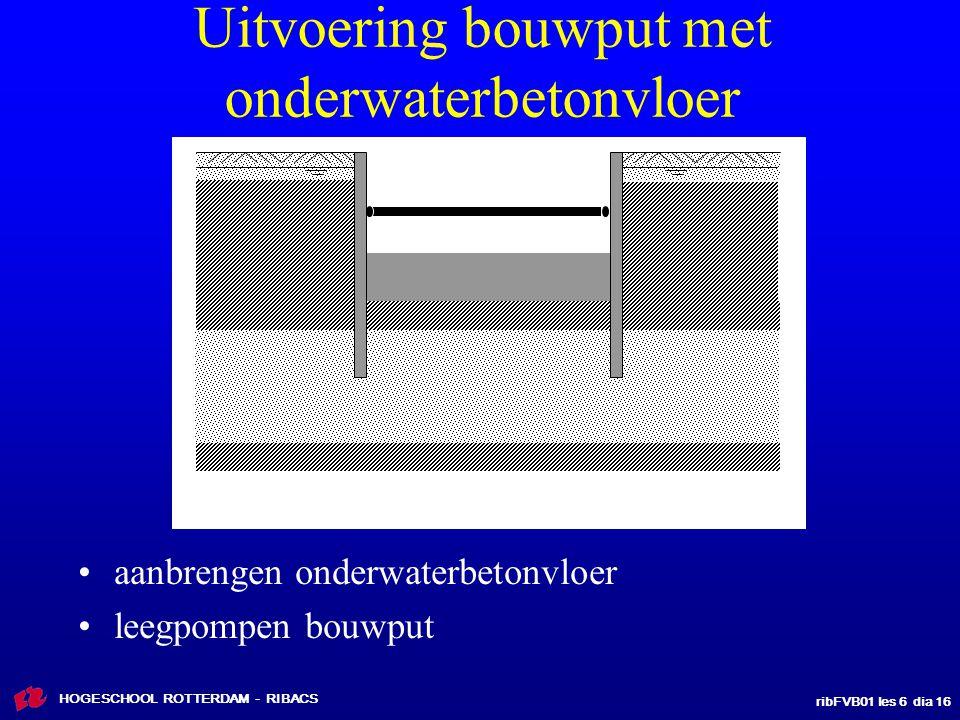 ribFVB01 les 6 dia 16 HOGESCHOOL ROTTERDAM - RIBACS Uitvoering bouwput met onderwaterbetonvloer aanbrengen onderwaterbetonvloer leegpompen bouwput
