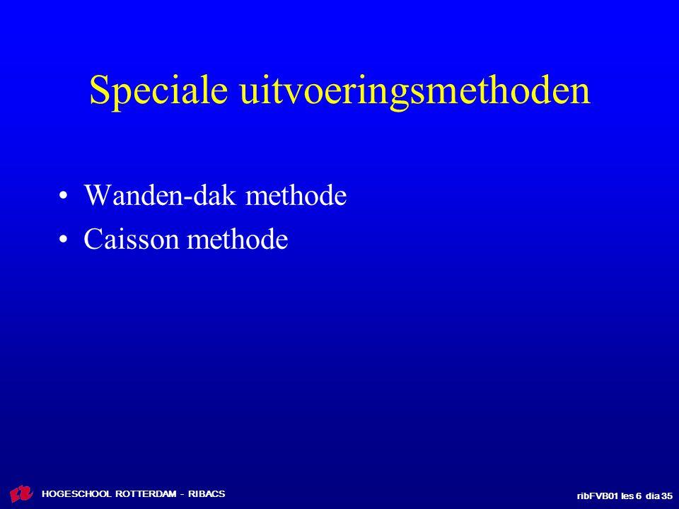 ribFVB01 les 6 dia 35 HOGESCHOOL ROTTERDAM - RIBACS Speciale uitvoeringsmethoden Wanden-dak methode Caisson methode