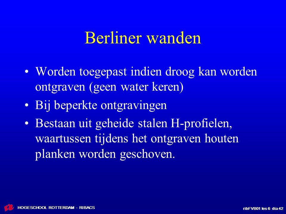 ribFVB01 les 6 dia 42 HOGESCHOOL ROTTERDAM - RIBACS Berliner wanden Worden toegepast indien droog kan worden ontgraven (geen water keren) Bij beperkte