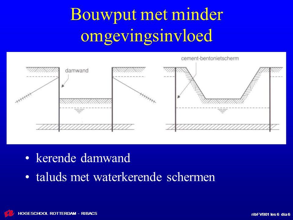 ribFVB01 les 6 dia 17 HOGESCHOOL ROTTERDAM - RIBACS Onderwaterbetonvloer, verankerd met trekpalen of ankers inbrengen palen voor ontgraven, of vanaf drijvend ponton net voor storten onderwaterbetonvloer