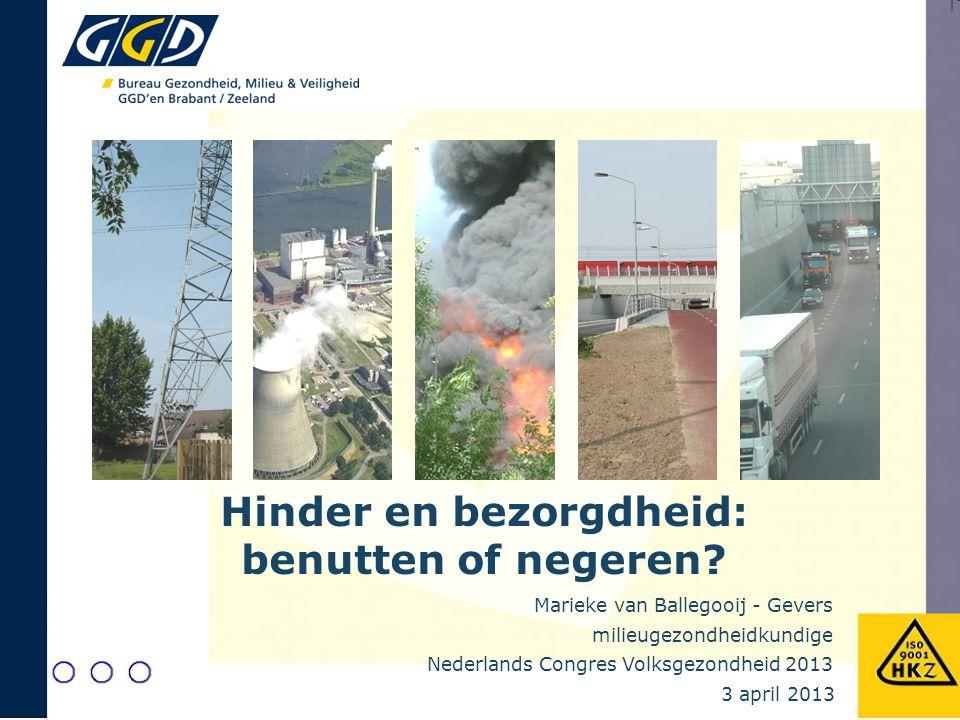 milieugezondheidkundige Marieke van Ballegooij - Gevers Nederlands Congres Volksgezondheid 2013 3 april 2013 Hinder en bezorgdheid: benutten of negere