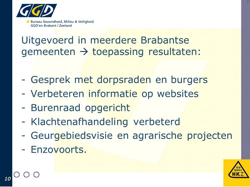Uitgevoerd in meerdere Brabantse gemeenten  toepassing resultaten: -Gesprek met dorpsraden en burgers -Verbeteren informatie op websites -Burenraad o