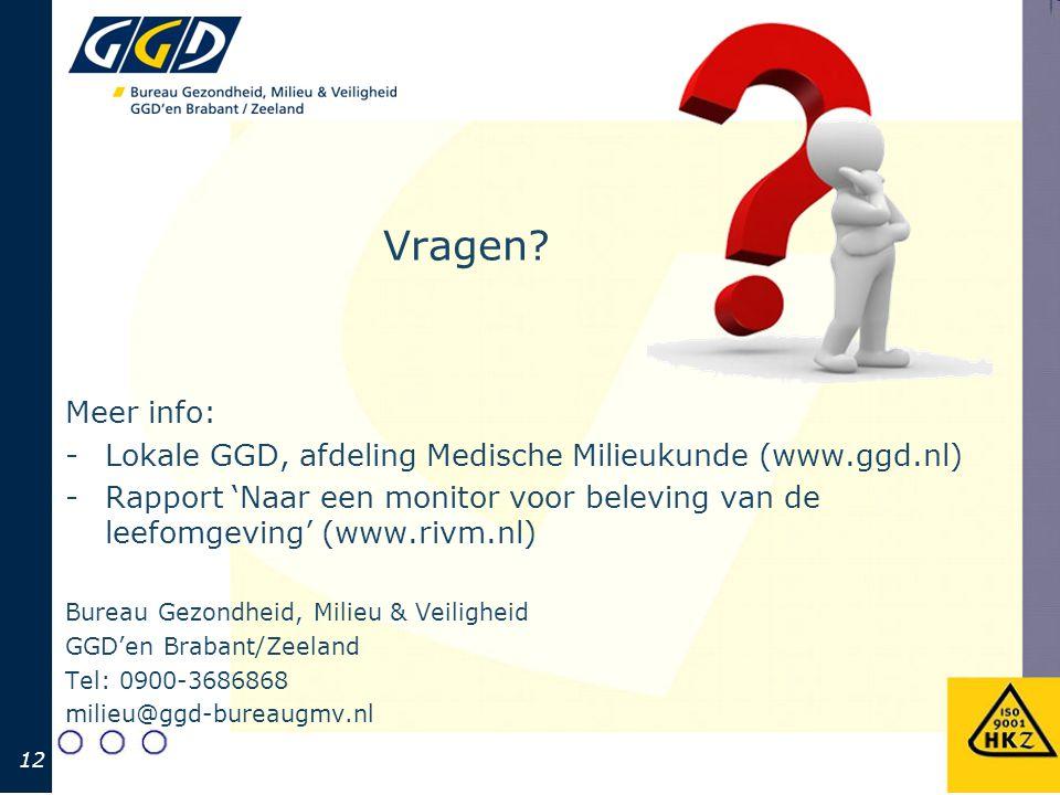 Vragen? Meer info: -Lokale GGD, afdeling Medische Milieukunde (www.ggd.nl) -Rapport 'Naar een monitor voor beleving van de leefomgeving' (www.rivm.nl)