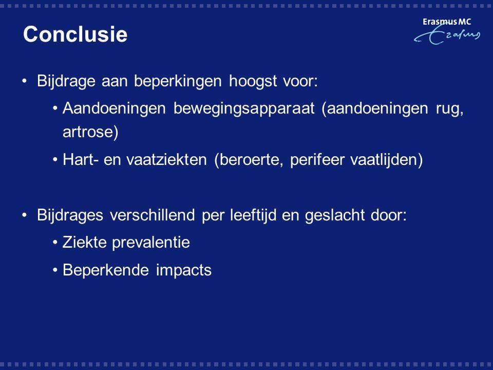 Conclusie Bijdrage aan beperkingen hoogst voor: Aandoeningen bewegingsapparaat (aandoeningen rug, artrose) Hart- en vaatziekten (beroerte, perifeer va