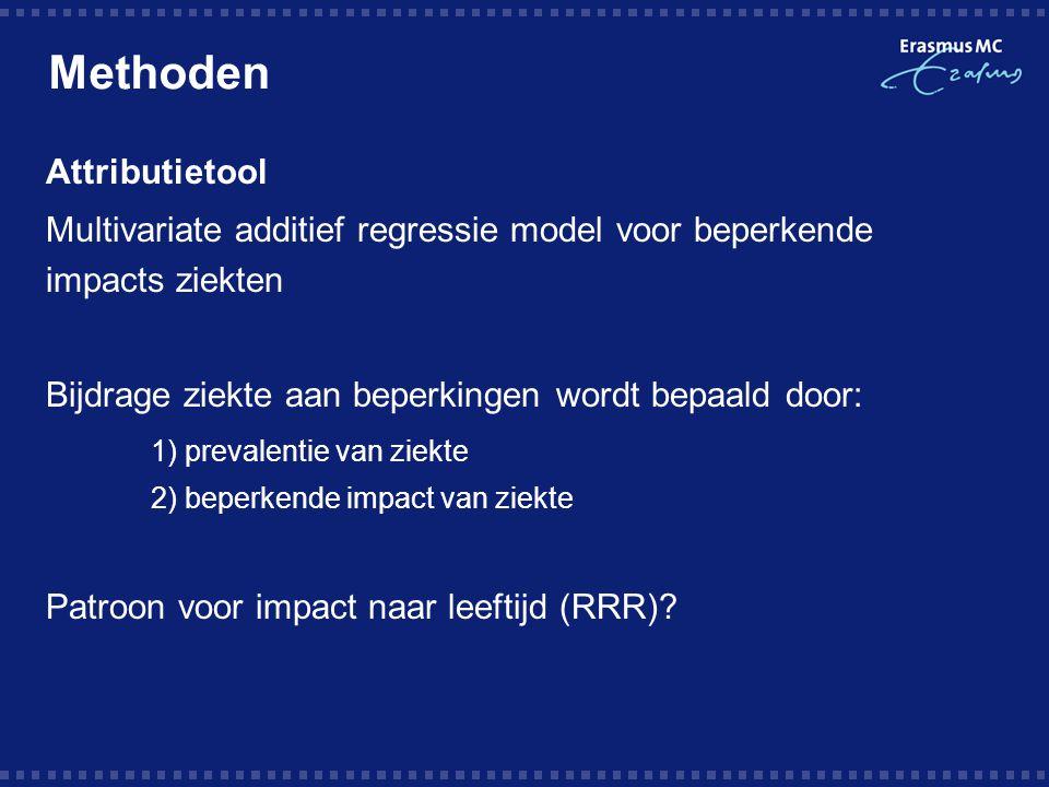 Methoden Attributietool Multivariate additief regressie model voor beperkende impacts ziekten Bijdrage ziekte aan beperkingen wordt bepaald door: 1) prevalentie van ziekte 2) beperkende impact van ziekte Patroon voor impact naar leeftijd (RRR)?