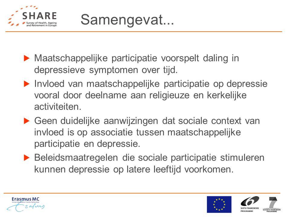 Samengevat...  Maatschappelijke participatie voorspelt daling in depressieve symptomen over tijd.