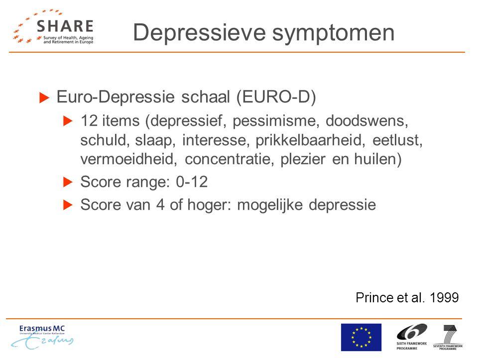 Depressieve symptomen  Euro-Depressie schaal (EURO-D)  12 items (depressief, pessimisme, doodswens, schuld, slaap, interesse, prikkelbaarheid, eetlust, vermoeidheid, concentratie, plezier en huilen)  Score range: 0-12  Score van 4 of hoger: mogelijke depressie Prince et al.