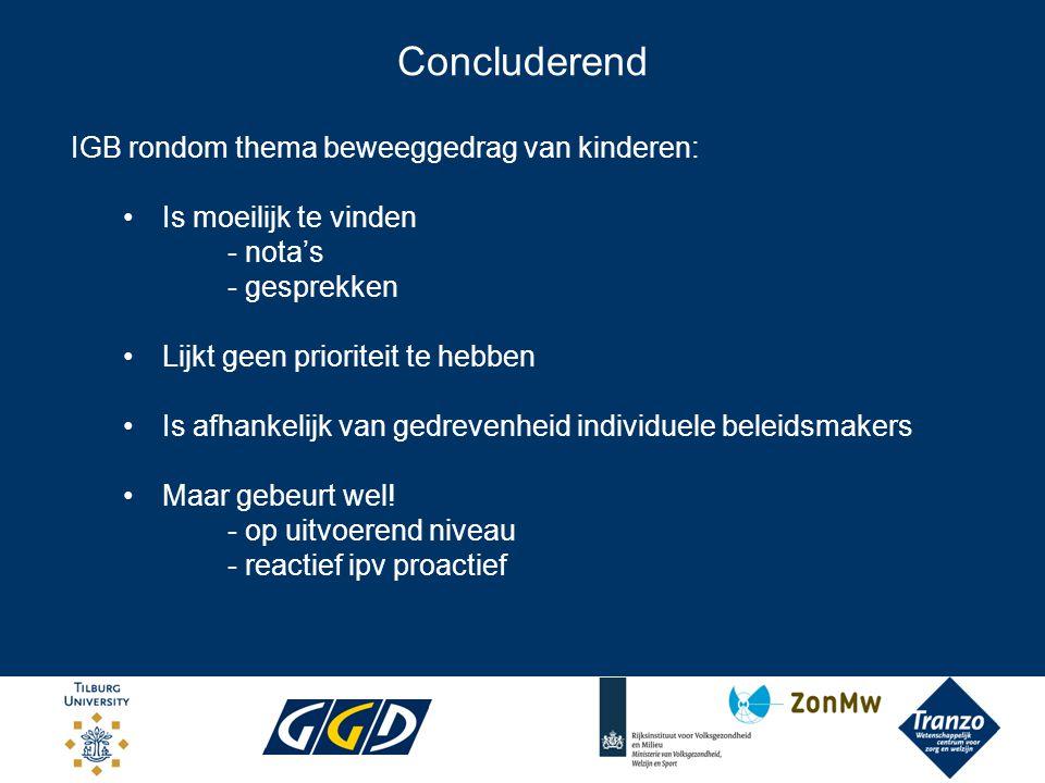 Concluderend IGB rondom thema beweeggedrag van kinderen: Is moeilijk te vinden - nota's - gesprekken Lijkt geen prioriteit te hebben Is afhankelijk va