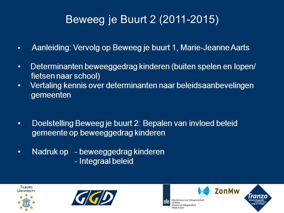 Beweeg je Buurt 2 (2011-2015) Tranzo, Tilburg University Academische Werkplaats: Tranzo, RIVM, 3 Brabantse GGD-en Projectleiding: Jantine Schuit, Hans van Oers, RIVM Setting: Tilburg, Breda, 's-Hertogenbosch, Roosendaal, Eindhoven Project opgebouwd uit 3 fasen