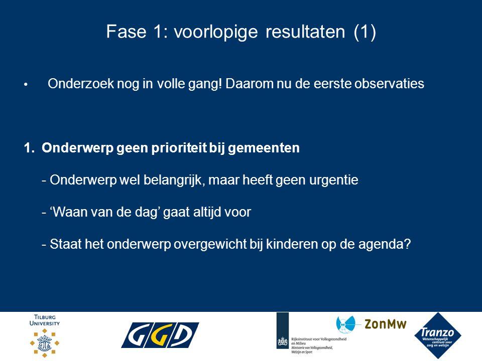 Fase 1: voorlopige resultaten (2) Nota's: Landelijke gezondheidsnota: Ja Lokale gezondheidsnota's: Bij 3 van de 5 gemeenten nog geen geactualiseerde gezondheidsnota vastgesteld.