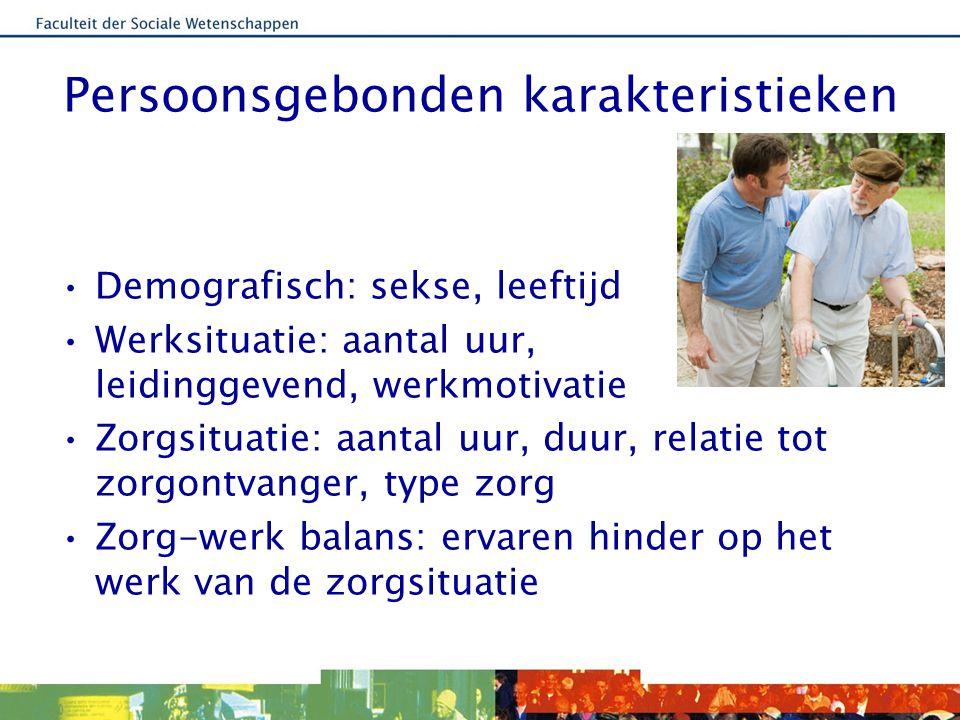 Organisatiekenmerken Steun aan mantelzorgers van: –Collegae –Leidinggevenden –Organisatie