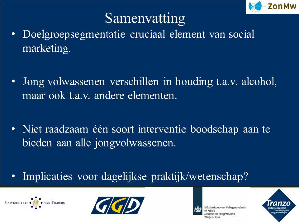 Samenvatting Doelgroepsegmentatie cruciaal element van social marketing. Jong volwassenen verschillen in houding t.a.v. alcohol, maar ook t.a.v. ander