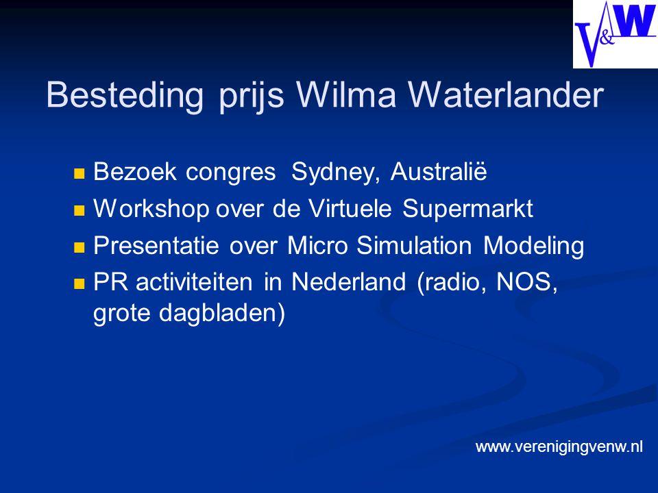 Besteding prijs Wilma Waterlander Bezoek congres Sydney, Australië Workshop over de Virtuele Supermarkt Presentatie over Micro Simulation Modeling PR activiteiten in Nederland (radio, NOS, grote dagbladen) www.verenigingvenw.nl