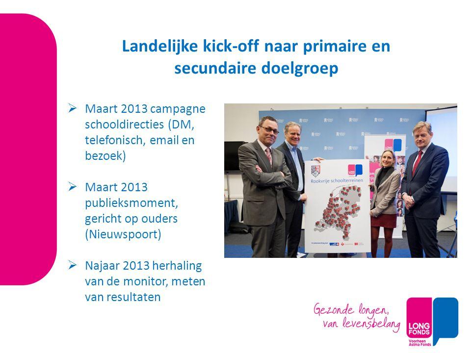  Maart 2013 campagne schooldirecties (DM, telefonisch, email en bezoek)  Maart 2013 publieksmoment, gericht op ouders (Nieuwspoort)  Najaar 2013 he