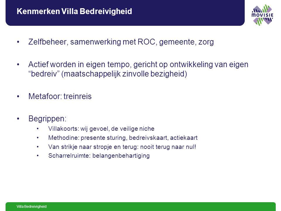 Villa Bedreivigheid: route deelnemers aankomende deelnemers deelnemers/beheerders deelnemers bedreivigheid uitstroom deelnemers Villa 4 @titel@