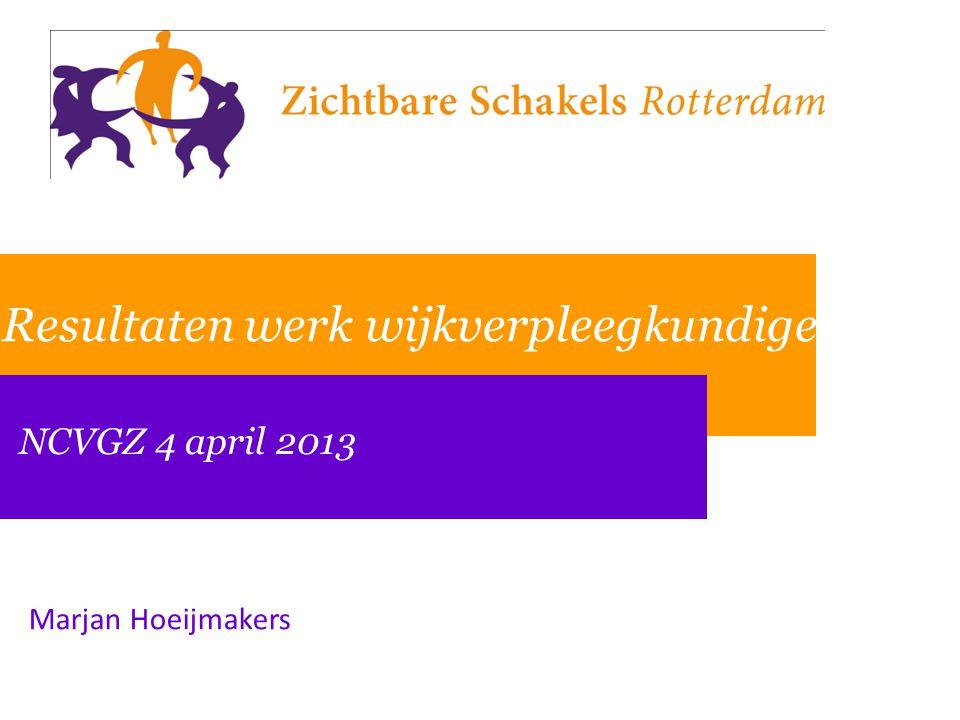 Resultaten werk wijkverpleegkundige NCVGZ 4 april 2013 Marjan Hoeijmakers