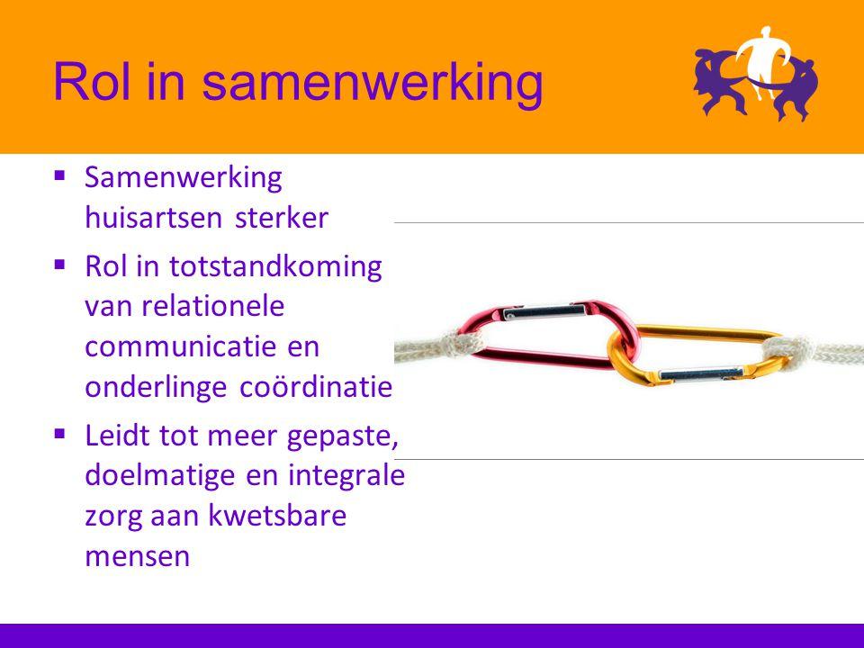 Rol in samenwerking  Samenwerking huisartsen sterker  Rol in totstandkoming van relationele communicatie en onderlinge coördinatie  Leidt tot meer gepaste, doelmatige en integrale zorg aan kwetsbare mensen