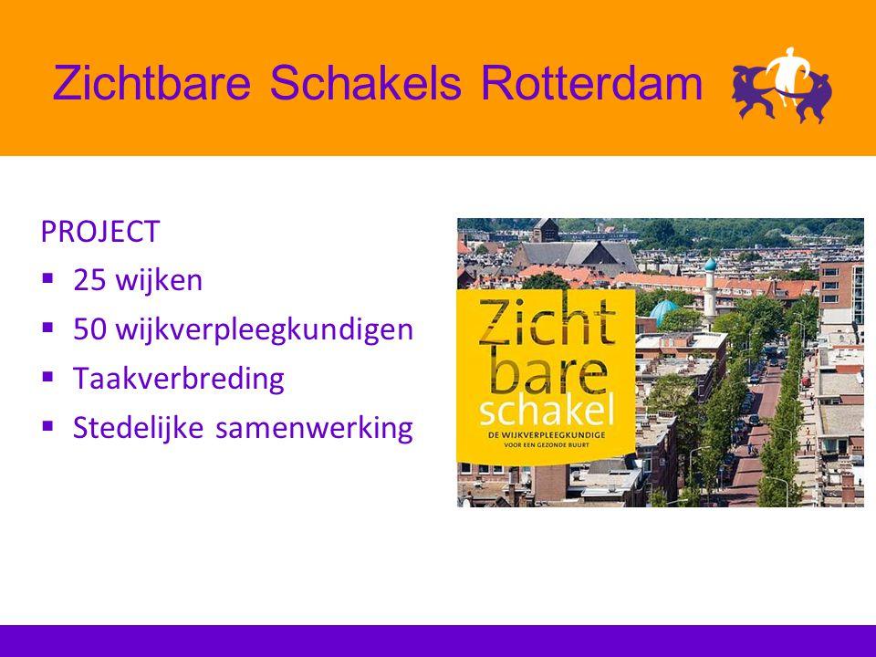 Zichtbare Schakels Rotterdam PROJECT  25 wijken  50 wijkverpleegkundigen  Taakverbreding  Stedelijke samenwerking