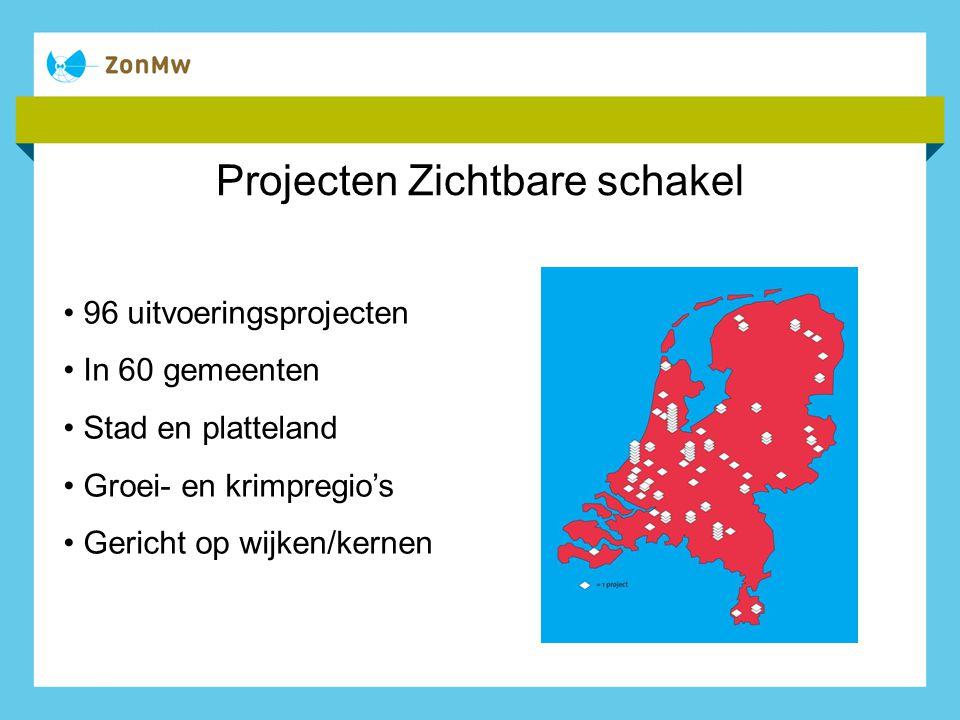 Projecten Zichtbare schakel 96 uitvoeringsprojecten In 60 gemeenten Stad en platteland Groei- en krimpregio's Gericht op wijken/kernen